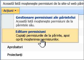 Editarea permisiunilor opțiune din meniul acțiuni