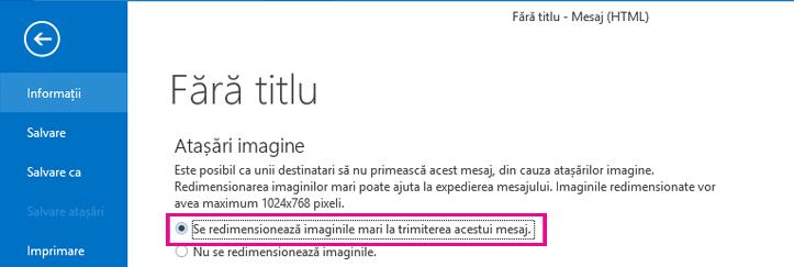 Făcând clic pe această opțiune, puteți seta Outlook să redimensioneze imagini atunci când acestea sunt trimise.