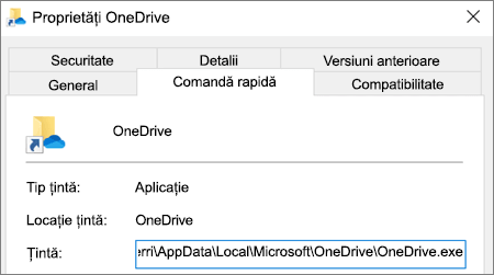 Captură de ecran care afișează meniul de proprietăți al aplicației OneDrive.
