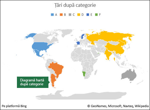 Diagramă hartă Excel după categorie