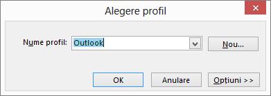 Caseta de dialog Alegere profil