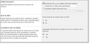 Fereastra Setări complexe tipuri de conținut de site-uri