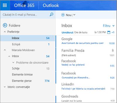 Vizualizarea principală a Outlook pe web