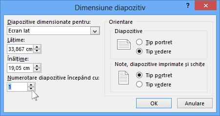 Afișează caseta de dialog dimensiune diapozitiv în PowerPoint