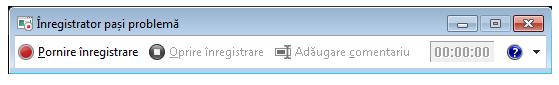 O captură de ecran cu Înregistratorul de pași sau PSR.exe.