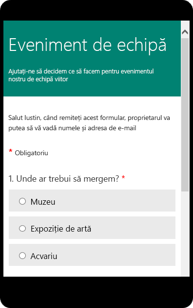 Modul de previzualizare mobil pentru un formular de anchetă școlar.