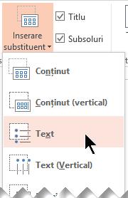 Inserarea unui substituent de casetă text