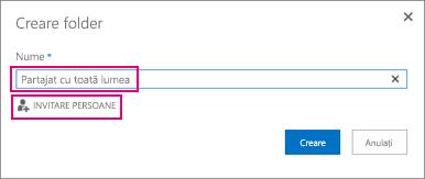 Alegeți folderul Partajat cu toată lumea din OneDrive