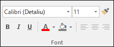 Comenzile disponibile în grupul Font Access