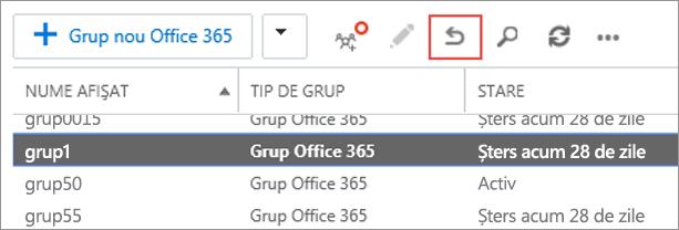 Selectați grupul pe care doriți să-l restaurați, apoi faceți clic pe pictograma de restaurare.