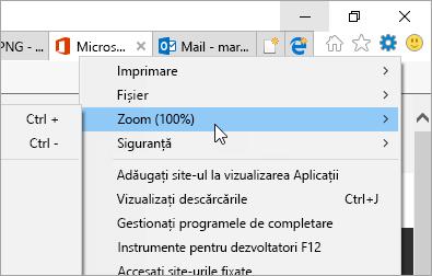 Captură de ecran a meniului de instrumente din Internet Explorer