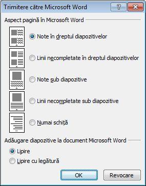 Caseta de dialog Trimitere către Microsoft Word