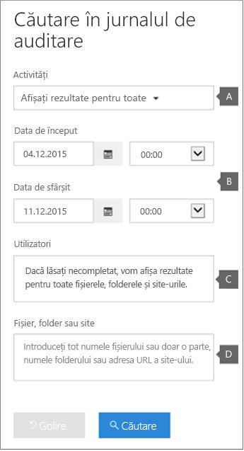 Configurați criterii, apoi faceți clic pe Căutare pentru a rula raportul
