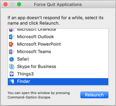 Captură de ecran a Finder în caseta de dialog Force Quit Applications pe un Mac
