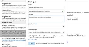 Inbox în fundal și caseta de dialog Creare grup în prim-plan