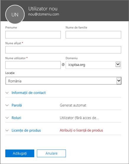Captură de ecran cu câmpurile de completat atunci când adăugați un utilizator la Office 365 pentru firme