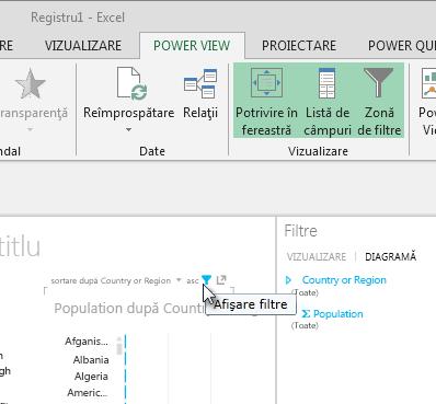 pictograma Filtre apare atunci când treceți cu mouse-ul pe deasupra unei vizualizări Power View