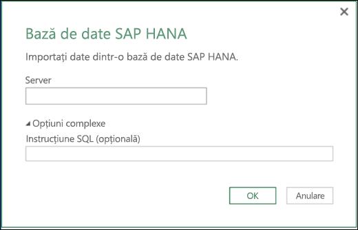 Caseta de dialog Import bază de date SAP HANA din Excel Power BI