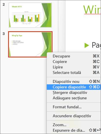 Captura de ecran arată un diapozitiv selectat și opțiunea Dublare diapozitiv selectată în meniul contextual.