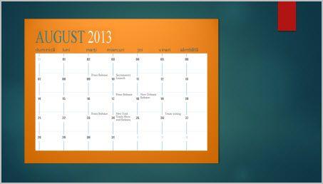 Adăugarea unui calendar la un diapozitiv