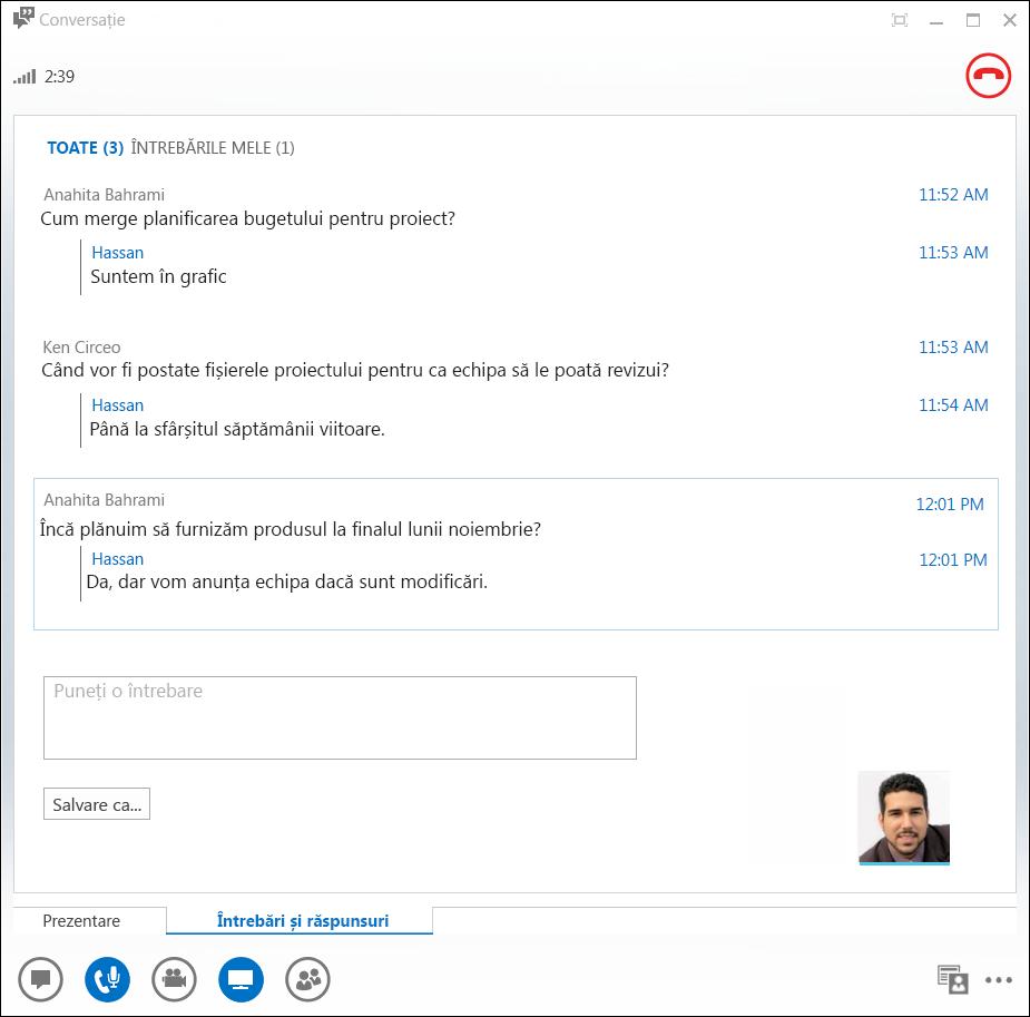 Captură de ecran cu Managerul de întrebări și răspunsuri