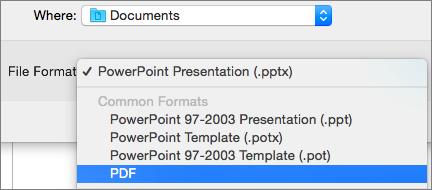 Afișează opțiunea PDF în lista Formate de fișier din caseta de dialog Salvare ca din PowerPoint 2016 pentru Mac.
