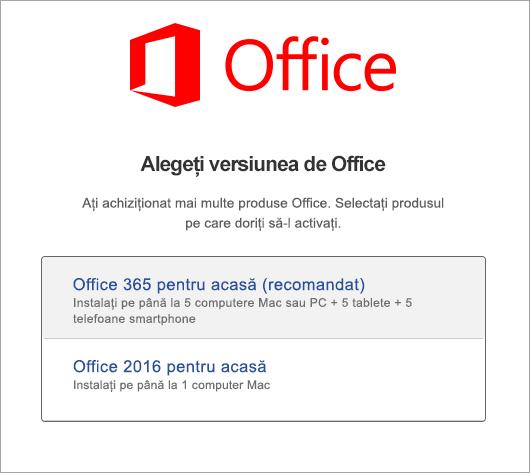 Alegeți tipul de licență Office 2016 pentru Mac