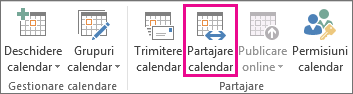 Share Calendar button in Outlook 2013 Home tab