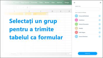 Captură de ecran: Selecta grup pentru a trimite tabel pentru a