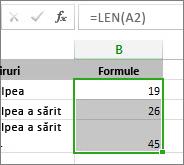 Exemplu de funcție LEN