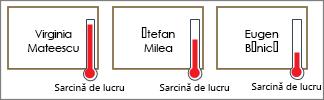 Forme cu termometre care arată volumul de lucru