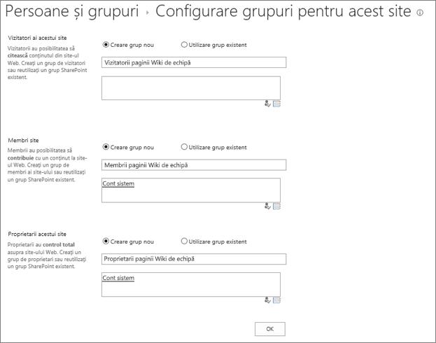 Configurarea e-grupuri pentru caseta de dialog site-ul