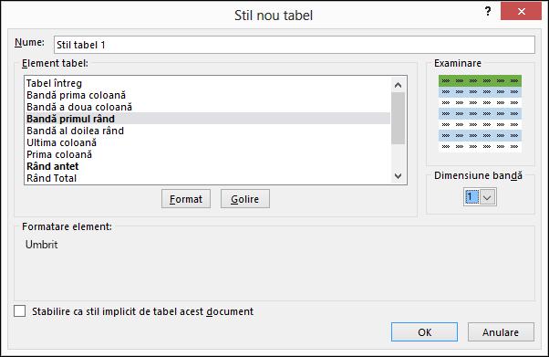 Noi opțiuni de stil de tabel în caseta de dialog pentru aplicarea de stiluri particularizate într-un tabel