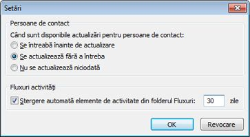 Caseta de dialog Setări Outlook Social Connector
