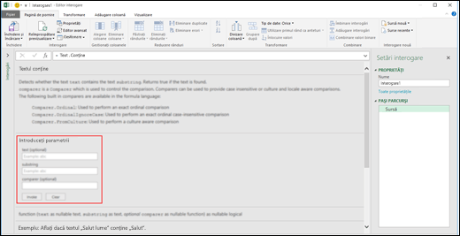 Controalele de intrare în linie pentru invocare de funcții din Editorul de interogare din Excel Power BI