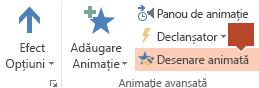 Desenare animată este disponibilă în panglica bară de instrumente Animație atunci când este selectat un obiect animat într-un diapozitiv