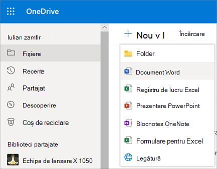 Meniul fișier sau un folder nou în OneDrive pentru Business