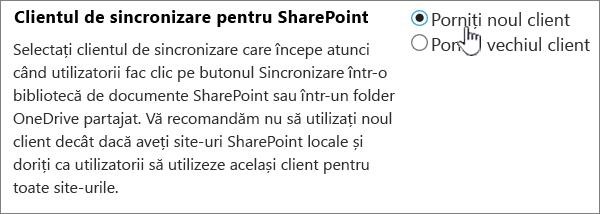 Setarea administrator pentru clientul de sincronizare OneDrive