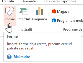 Butonul Inserare forme din PowerPoint