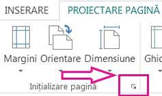 Lansatorul casetei de dialog Inițializare pagină