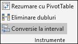 Conversia unui tabel Excel într-o zonă