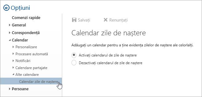 O captură de ecran a meniului de calendare de zile de naștere din Setări