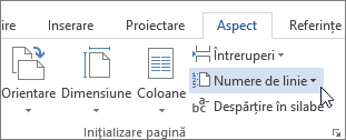 Numerele de linie, în grupul Inițializare pagină