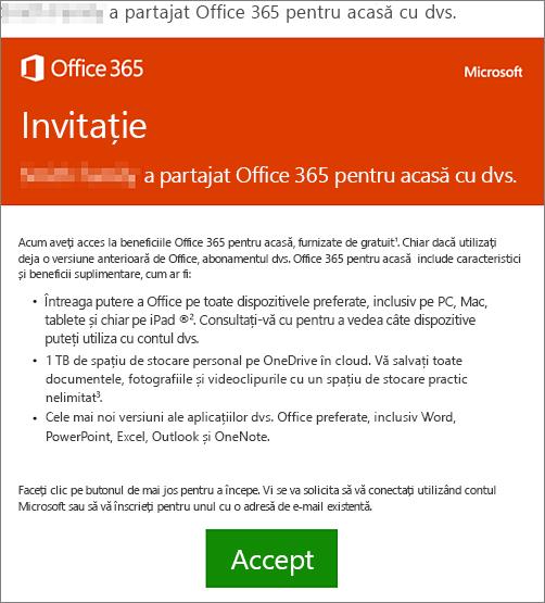 E-mail care anunță că cineva a partajat Office 365 pentru acasă cu dvs.
