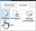 Fila de pagină cu butonul Editare evidențiat