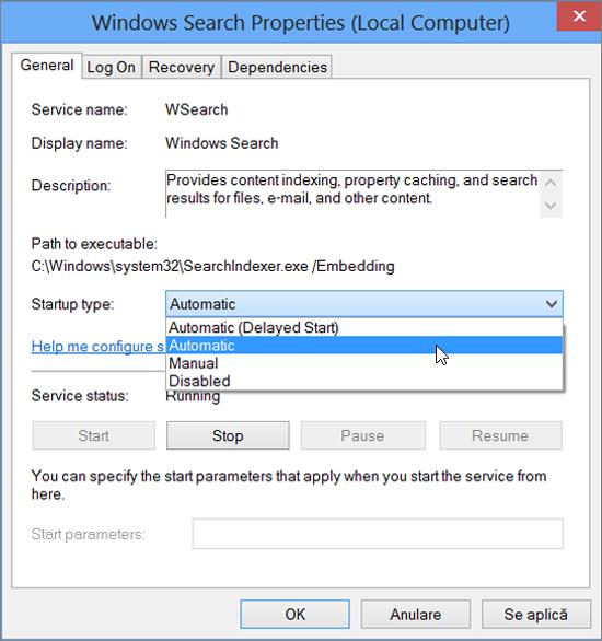 Captură de ecran a casetei de dialog Proprietăți de căutare Windows afișează setarea automată selectată pentru tipul de Startup.