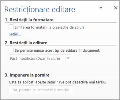 Panoul Restricționare editare