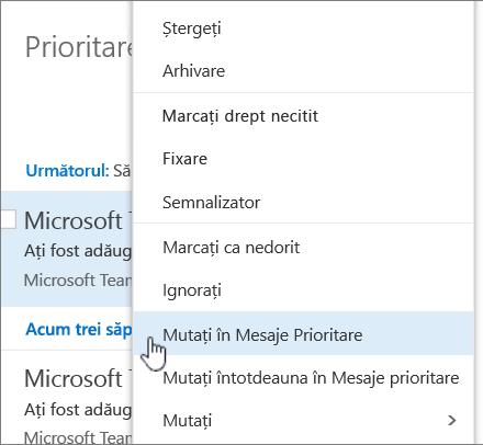 Captură de ecran a inboxului cu filtrul > Afișare mesaje prioritare selectate.