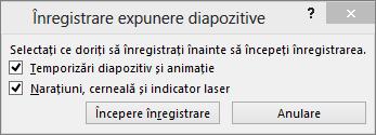 Afișează caseta de dialog Înregistrare expunere diapozitive din PowerPoint