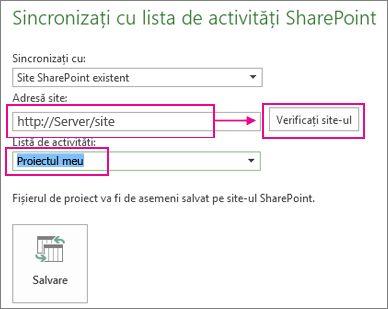 Salvarea proiectului în SharePoint